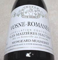 Domaine MONGEARD-MUGNERET-VOSNE ROMANEE LES MAIZIERES HAUTES 2002