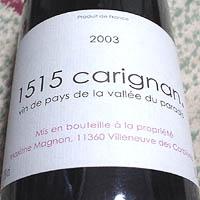 Maxime Magnon vin de pays de la vallee du paradis 1515 carignan 2003