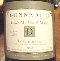 CLOS BAGATELLE DONNADIEU Cuvee Mathieu et Marie 2003